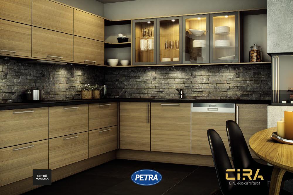 Petra-keittiön tammiviiluiset Arlena-ovet.